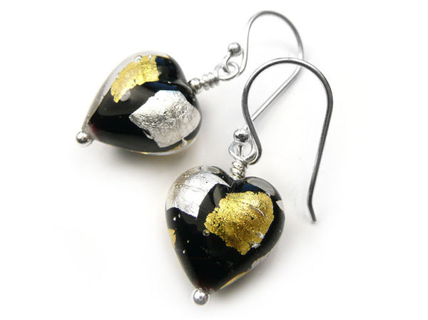 Murano Glass Heart Earrings - Midnight