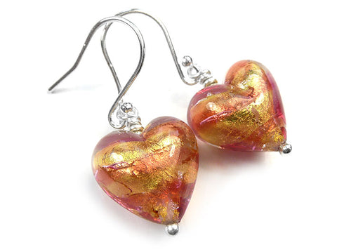 Murano Glass Heart Earrings - Peach Melba