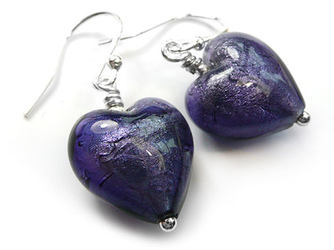 Murano Glass Heart Earrings - Purple Velvet