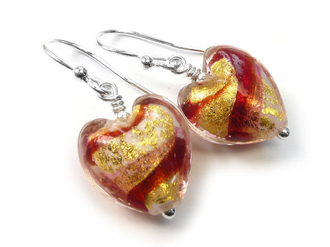 Murano Glass Heart Earrings - Rubino Gold Swirl