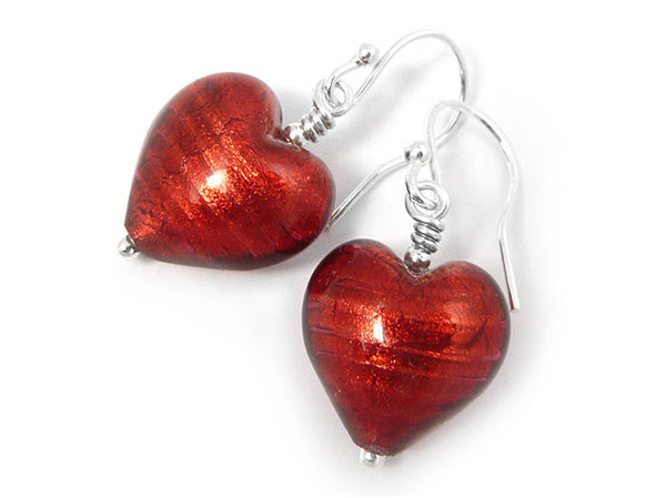 Murano Glass Heart Earrings - Rubino