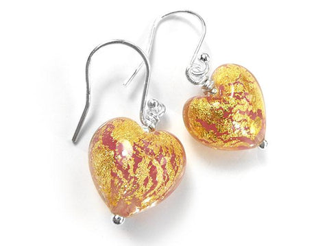 Murano Glass Heart Earrings - Salmon
