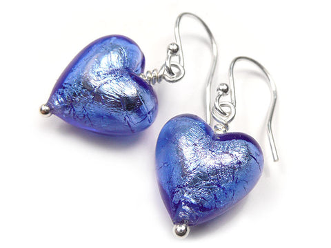 Murano Glass Heart Earrings - Sapphire