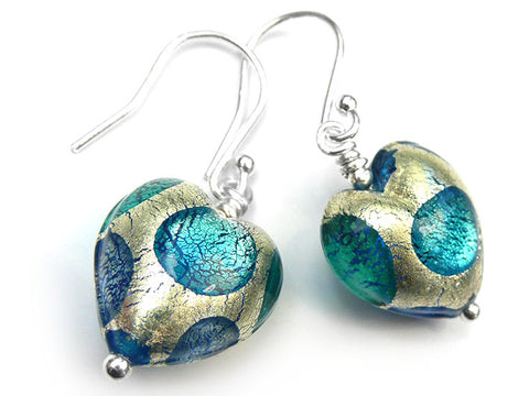 Murano Glass Heart Earrings - Teal Spot