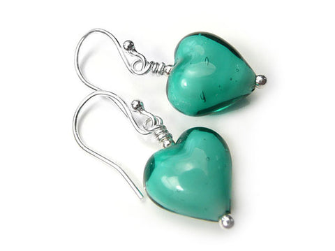 Murano Glass Heart Earrings - Teal White Core