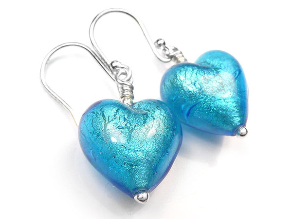 Murano Glass Heart Earrings - Turquoise