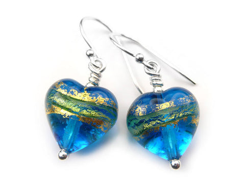 Murano Glass Heart Earrings - Turquoise Blue