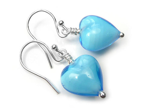 Murano Glass Heart Earrings - Turquoise White Core