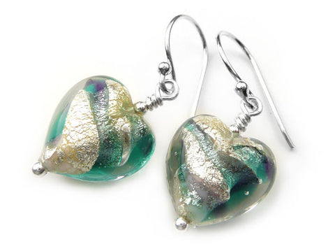 Murano Glass Heart Earrings - Verde and Purple Velvet