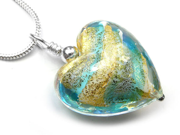 Murano Glass Heart Pendant - Aqua Gold