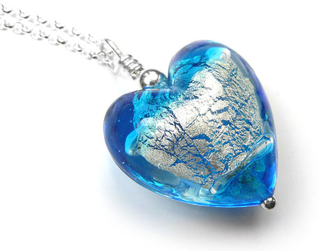 Murano Glass Heart Pendant - Aqua White Gold
