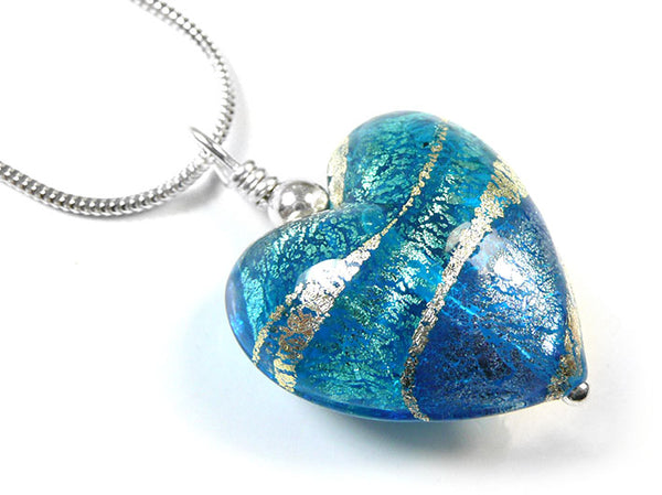 Murano Glass Heart Pendant - Aqua and Sapphire Swirl