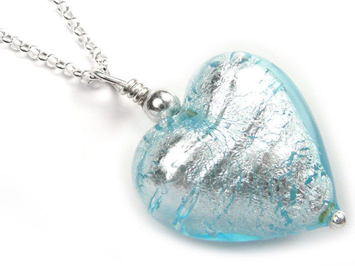 Murano glass heart pendant necklace aquamarine silver pale blue murano glass heart pendant aquamarine belcher chain aloadofball Image collections