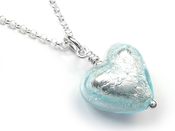 Murano glass small heart pendant necklace silver pale blue murano glass heart pendant aquamarine small aloadofball Gallery