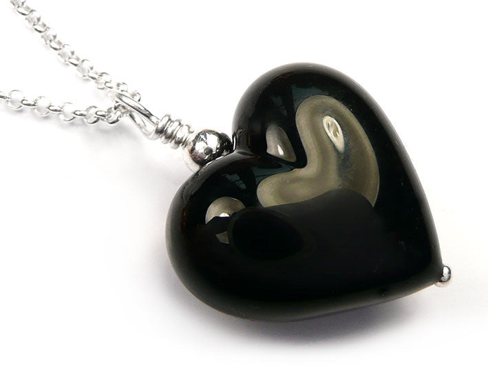 Murano glass heart pendant necklace black murano glass heart pendant black belcher chain mozeypictures Choice Image