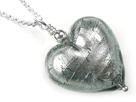 Murano Glass Heart Pendant - Black Diamond Belcher Chain