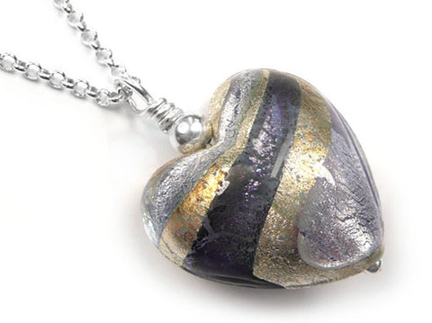 Murano Glass Heart Pendant - Black Diamond Purple and Lilac - Belcher Chain