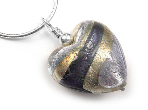 Murano Glass Heart Pendant - Black Diamond Purple and Lilac - Snake Chain