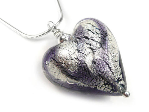 Murano Glass Heart Pendant - Black Diamond and Purple Velvet Swirls - Snake Chain