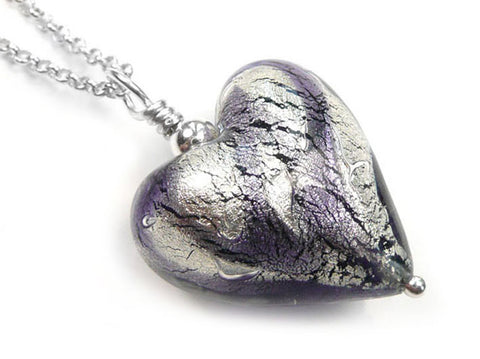 Murano Glass Heart Pendant - Black Diamond and Purple Velvet Swirls - Belcher Chain