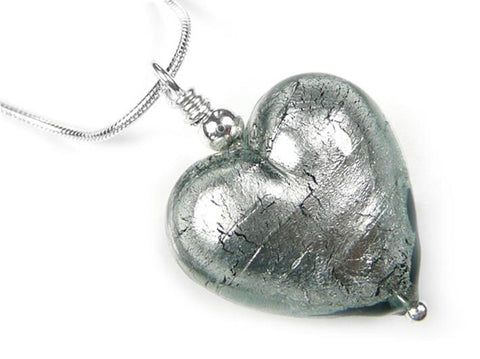 Murano Glass Heart Pendant - Black Diamond Snake Chain