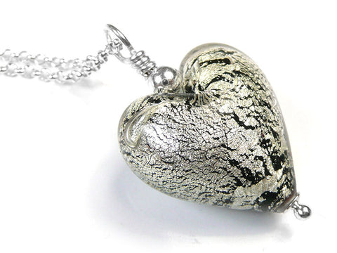 Murano Glass Heart Pendant - Black and White Gold