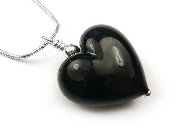 Murano Glass Heart Pendant - Black - Belcher Chain