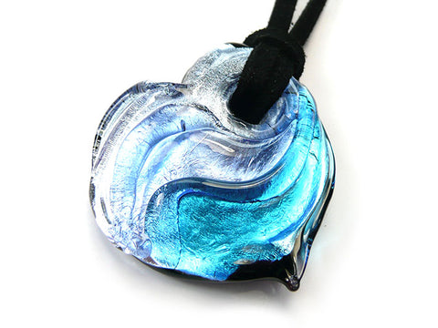 Murano Glass Heart Pendant - Blues