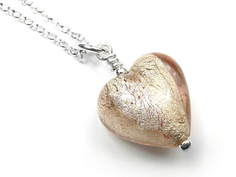 Murano Glass Heart Pendant - Champagne Small