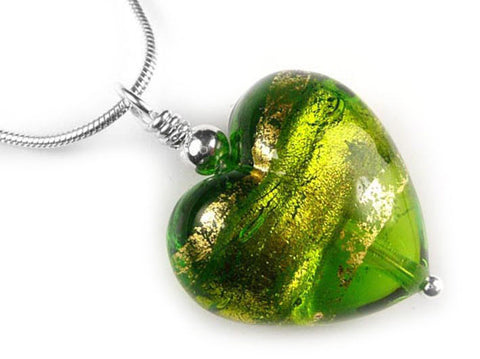 Murano Glass Heart Pendant - Chartreuse Gold - Snake Chain