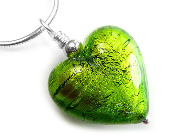 Murano Glass Heart Pendant - Chartreuse - Snake Chain