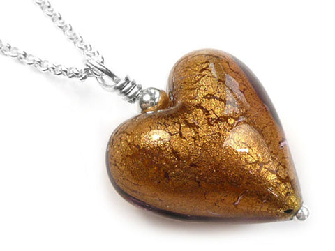 Murano Glass Heart Pendant - Chocolate