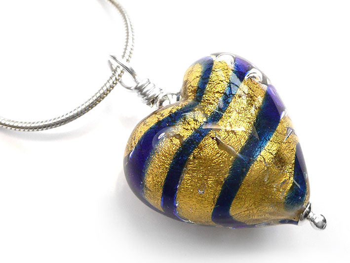 Murano glass heart pendant necklace blue gold stripes pattern murano glass heart pendant cobalt tiger stripe mozeypictures Choice Image