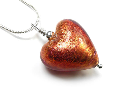 Murano Glass Heart Pendant - Copper