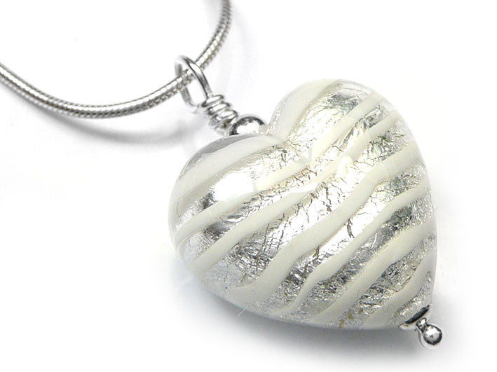 Murano glass heart pendant necklace silver white stripes pattern murano glass heart pendant crystal spiralina mozeypictures Choice Image