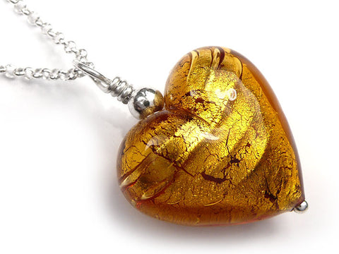 Murano Glass Heart Pendant - Dark Gold - Belcher Chain