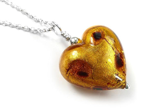 Murano Glass Heart Pendant - Dark Gold Leopard