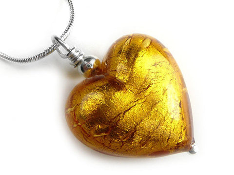 Murano Glass Heart Pendant - Dark Gold - Snake Chain