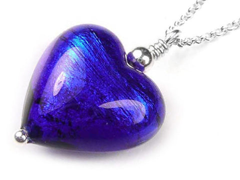 Murano Glass Heart Pendant - Electric Belcher Chain