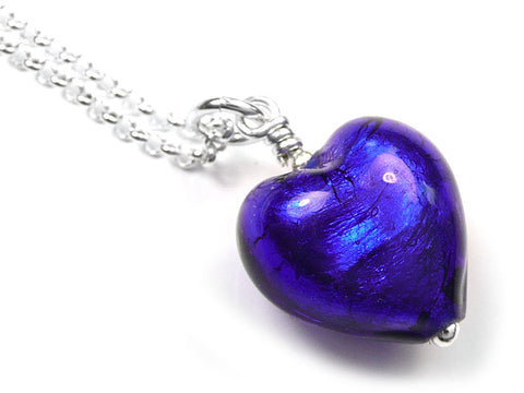 Murano Glass Heart Pendant - Electric Small