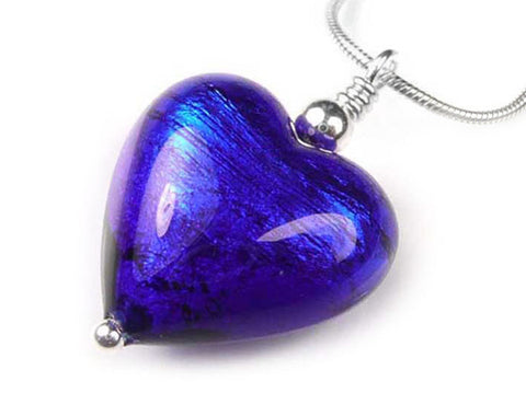 Murano Glass Heart Pendant - Electric Snake Chain