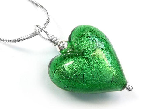 Murano Glass Heart Pendant - Emerald