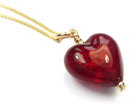 Murano Glass Heart Pendant - Gold Ruby Small
