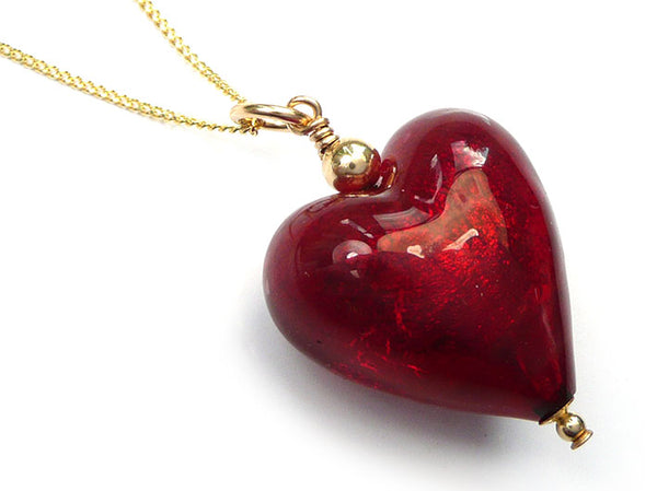 Murano Glass Heart Pendant - Gold Ruby