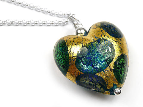 Murano Glass Heart Pendant - Gold and Teal Spot