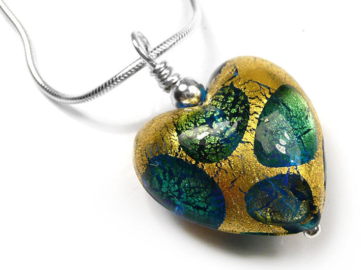 Murano glass heart pendant necklace gold and teal spots pattern murano glass heart pendant gold and teal spot mozeypictures Choice Image
