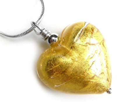 Murano Glass Heart Pendant - Gold - Snake Chain
