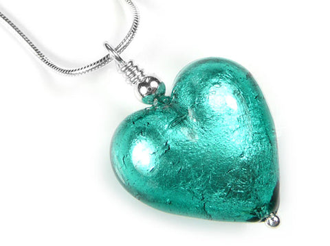 Murano Glass Heart Pendant - Jade - Snake Chain