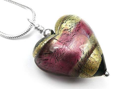 Murano Glass Heart Pendant - Jet and Light Ruby