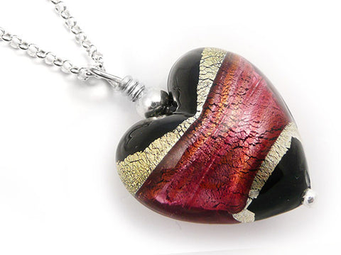 Murano Glass Heart Pendant - Jet and Ruby - Belcher Chain